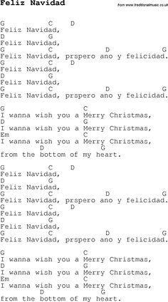 Christmas Songs and Carols, lyrics with chords for guitar banjo for Feliz Navidad