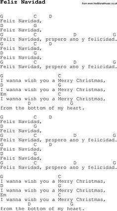 Christmas Songs and Carols, lyrics with chords for guitar banjo for Feliz Navidad