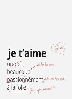 Valentines Day Quotes : Je t'aime un peu beaucoup passionnément à la foliew Valentine's Day Quotes, Some Quotes, Words Quotes, Sayings, Image Citation, Quote Citation, Citation Saint Valentin, Quotes Valentines Day, Valentine Sday