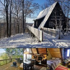 Valley View Lodge is a one-of-a-kind Michigan luxury cabin rental, located at the top of scenic Schuss Mountain. Book your cozy winter weekend direct! #itscabintime #mountaincabin #vacationrental
