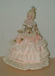 Vintage-Half-Doll-Pin-cushion-Germany-Porcelain-Figurine-Victorian-Lady-BEAUTY