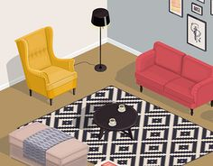 """Check out new work on my @Behance portfolio: """"Room interior"""" http://be.net/gallery/46714179/Room-interior ikea, furniture, sitting room, armchair, sofa, isometric, coffe table"""