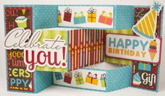 """Celebrate You"" Tri Shutter Fold Card *Imaginisce* - Scrapbook.com"