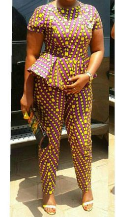 Unique ankara women pants with matching peplum top The top has back zipper Available in all sizes Please refer to the chart below or send in