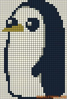 Adventure Time Gunter perler bead pattern... Could be used for Rainbow Loom