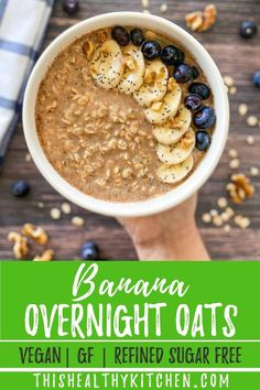 The BEST banana overnight oats for a healthy breakfast that's not only filling and delicious, but nutrient dense too. This dairy free and vegan breakfast comes together in a bowl or in a jar. With peanut butter, cinnamon, and optional toppings like banana and blueberry, you really can't go wrong!