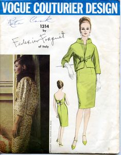 Vintage 1960s Sewing Pattern Vogue Couturier Design 1314 Designed by Federico Forquet of Italy - Complete Size 12 - Mad Men Style. $65.00, via Etsy.