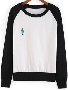 Black White Round Neck Cactus Embroidered Sweatshirt -SheIn(Sheinside)
