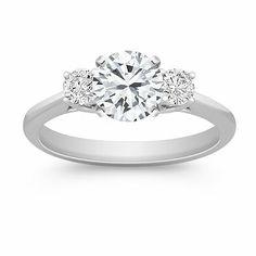 Three-Stone Round Diamond Engagement Ring with Brilliant Round Diamond. Shane Co.