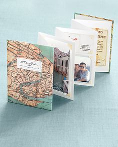 Using a map of your honeymoon location as the cover, mount photos and mementos from your trip: plane-ticket stubs or a business card from that cute back-alley restaurant you found. On display, your memories will be right where you can see them.   Honeymoon Album    Accordion book-binding kit, Paper-Source