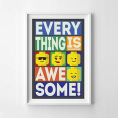 Lego Everything Is Awesome Block Style Retro Wall Art Instant Downloadable  Tabloid