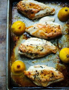 Rosemary Chicken with Roasted Lemons. Rosemary...the love flavor of my life. Yum..