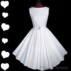 New WHITE 50s Rockabilly Pinup Wedding FULL Skirt Prom PARTY Dress S M Vtg Style in Clothing, Shoes & Accessories   eBay