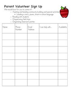 back to school volunteer sign up sheet i want to volunteer from