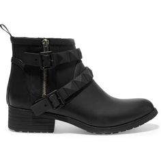 Rebecca Minkoff Quincy buckled rubber biker boots ($96) ❤ liked on Polyvore featuring shoes, boots, black, studded boots, motorcycle boots, studded moto boots, black zipper boots and black studded boots