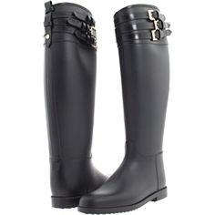 Burberry Equestrian Rain Boot With Leather Belts (Black) - Boots - StyleSays