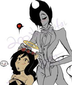 Flower crown (Horror!Bendy x Alice) by 200shadowfan