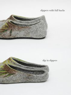 Felted slippers A Bit Of Green Grass Women slippers by jurgaZa