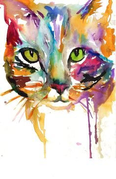 "Print of Watercolor Painting ""Tabby Cat"" 8 x 10 Original Watercolor Painting Pink Fuschia Orange Yellow Tan Brown"