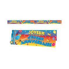 Vous recherchez une décoration d'anniversaire coloré et festif . Cette bannière Joyeux anniversaire est faite pour vous. En papier couché brillant et d'une longueur de 2,44 mètres, elle peut être découpée en 2 ou 4 parties. Elle est positionnable à votre