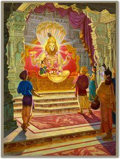 Lord Vishnu have the Responsibility to maintain Balance so He has to Incarnate himself for Solving various kinds of Problems. Hare Krishna, Krishna Art, Indiana, Lord Ganesha Paintings, Krishna Painting, Avatar, Lord Vishnu Wallpapers, Bhakti Yoga, Hindu Art