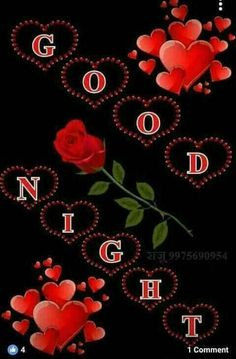 Good Night. (With Red Roses & Hearts Art)