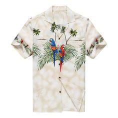 Made in Hawaii Men's Hawaiian Shirt Aloha Shirt Parrots Match Front Off White