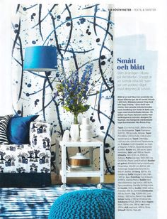 Klippan sofa from IKEA with a Kokeshi Blue/White cover by Bantie for Bemz featured in Swedish Allt i Hemmet nr12 2012.