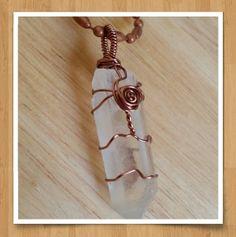 Antique Copper, Wire Wrapped Quartz Pendant by Panache808, $18.00