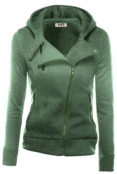 DJT Womens Casual Oblique Zipper Hoodie Jacket Coat at Amazon Women's Clothing store: