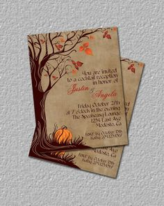 Fall Invitation Autumn Invitation Halloween by TheRedStarDesigns, $12.00