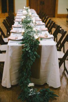 Garland Table Runner | Nathan Russell Photography | Styling by Bird Dog Weddings via Ruffled Blog | #gardenweddings #wedding