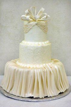 fabric gown wedding cake