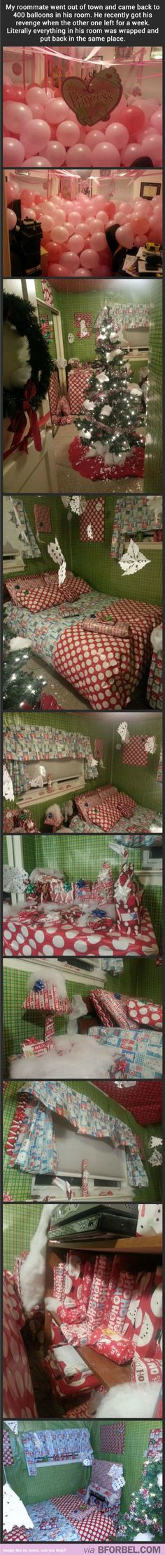 I absolutely love these kind of practical jokes! I totally did the wrapping paper one before, sadly I didn't have enough time or wrapping paper to get every square inch