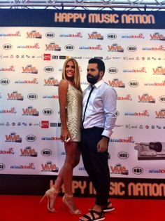 MAD TV hostess Mado Gasteratou, shining in her golden #BSB_SS14 dress @ MAD VMA '14 red carpet! #madvma14 #bsb
