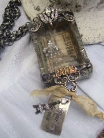 DIY:  How to Make a Shadow Box Pendant - paper mache on a match box, French charms and jewelry components - via Romancing the Bling: Cest La Vie ... Paris...from start to completion ~