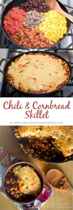 and Cornbread Chili and Cornbread Skillet on .the perfect dinner recipe for fall!Chili and Cornbread Skillet on .the perfect dinner recipe for fall! Cast Iron Skillet Cooking, Iron Skillet Recipes, Cast Iron Recipes, Skillet Dinners, Skillet Food, Cast Iron Chili Recipe, Food Dinners, One Pot Meals, Main Meals