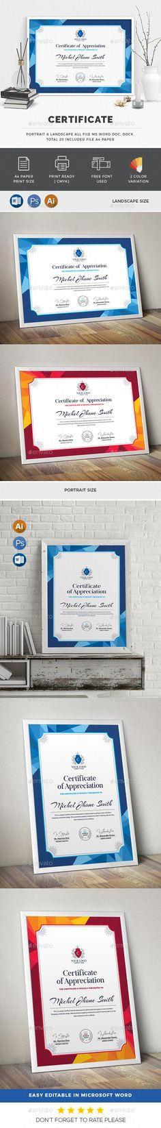#Certificate - #Certificates Stationery Download here: https://graphicriver.net/item/certificate/19734482?ref=alena994