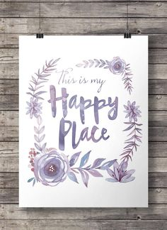 Watercolor This is my happy place flowers wreath by SouthPacific