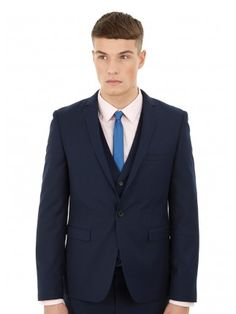 Single breasted with 1 button fastening and a notch lapel. Skinny Fit Suits, Burton Menswear, Midnight Blue, Suit Jacket, London, Navy, Fitness, Jackets, Fashion