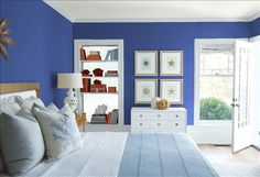 Look at the paint color combination I created with Benjamin Moore. Via @benjamin_moore. Wall: Southern Belle 819; Trim: Silver Cloud 2129-70; Bookcase Back Wall: Snow White 2122-70; Ceiling: White Heron OC-57.
