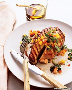 Cook this grilled salmon with spicy honey-basil sauce on the backyard grill or under the broiler for a quick and easy dinner