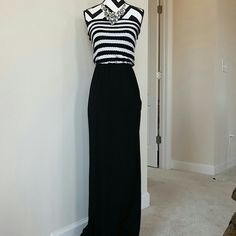 "Tart maxi dress Fabulous and fun Samora strapless maxi dress by Tart. Black and white strip at the top, black at the bottom. 50 rayon 50 cotton. Approx 49.5"" total length. Size XS. NWT, never worn. Tart Dresses Maxi"