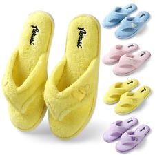 Women\'s Plush Spa Thong Slippers Winter Warm House Shoes US Size 6 7 ...