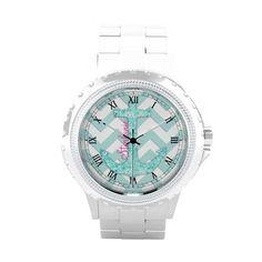 Monogram Aqua Glitter Anchor Teal Chevron pattern Wrist Watches