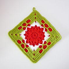 Crochet Granny Square Pot Holder or Hot Pad