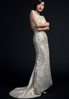 Shanghai Tang Imperial Tailoring: Ivory and Silver Lace Qi Pao- Always loved this piece