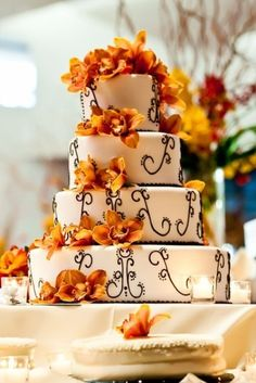Orchids and Chocolate Swirl Fall Wedding Cake