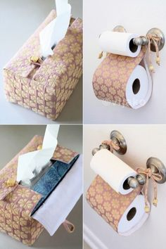 Sashiko Toilet Paper Holder and Tissue Cover Combo Set by vijako