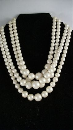 Four Strand Satin Faux Pearl Statement Vintage Necklace 1950s